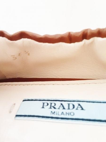 PRADA(プラダ) フラットシューズ 35 1/2 レディース美品  ブラウン リボン レザー