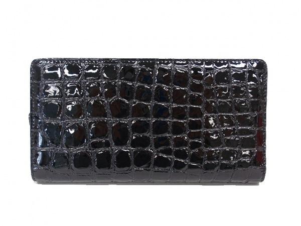 コッコフィオーレ 長財布美品  黒 ラウンドファスナー/型押し加工 エナメル(レザー)
