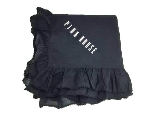 PINK HOUSE(ピンクハウス) 小物美品  黒×白 テーブルクロス//フリル コットン