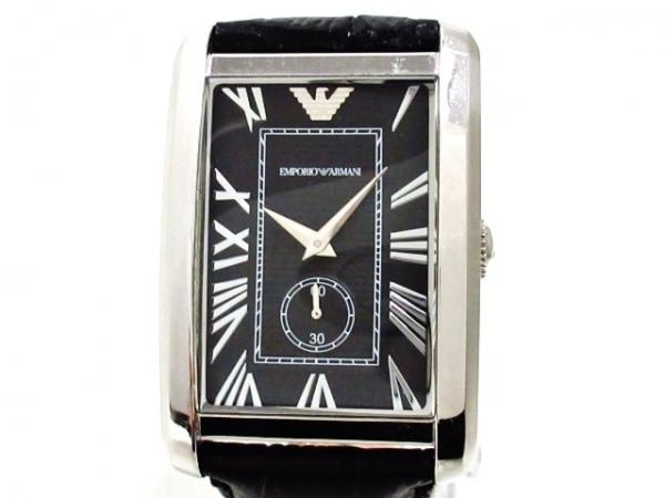 EMPORIOARMANI(アルマーニ) 腕時計 AR-1604 メンズ 革ベルト 黒