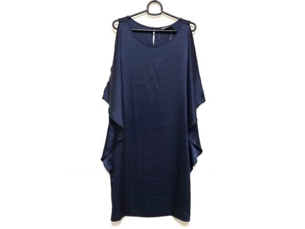 DKNY(ダナキャラン) ドレス サイズ4 XL レディース新品同様  ネイビー フリル