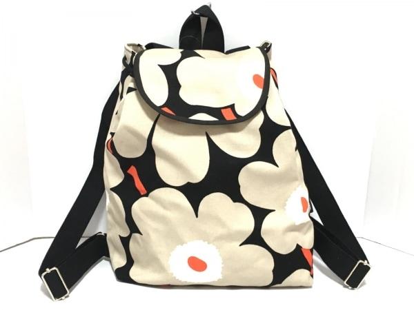 marimekko(マリメッコ) リュックサック美品  黒×ベージュ×マルチ 花柄 キャンバス