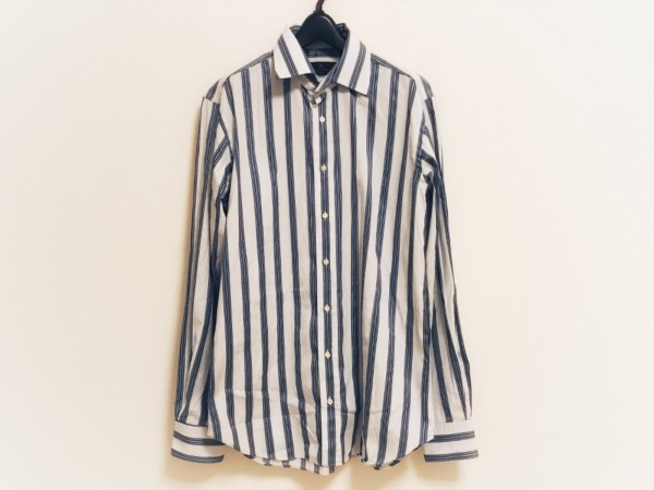 ETRO(エトロ) 長袖シャツ サイズ41 メンズ 白×ライトブルー×ネイビー