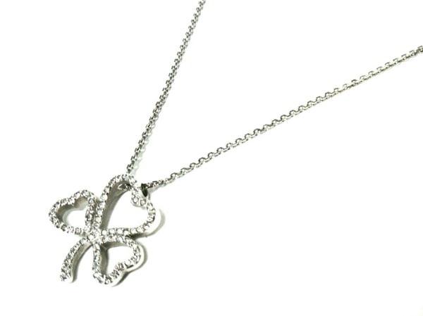 スワロフスキー ネックレス美品  金属素材×スワロフスキークリスタル クローバー