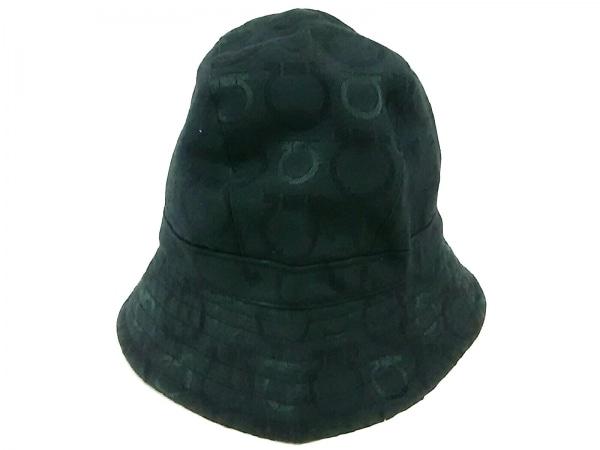サルバトーレフェラガモ 帽子 58 ガンチーニ 黒 コットン×ポリエステル