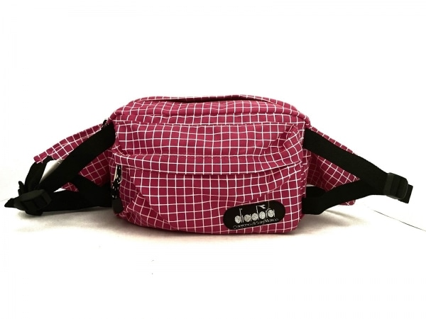DIADORA(ディアドラ) ウエストポーチ ピンク×白×黒 チェック柄 ナイロン