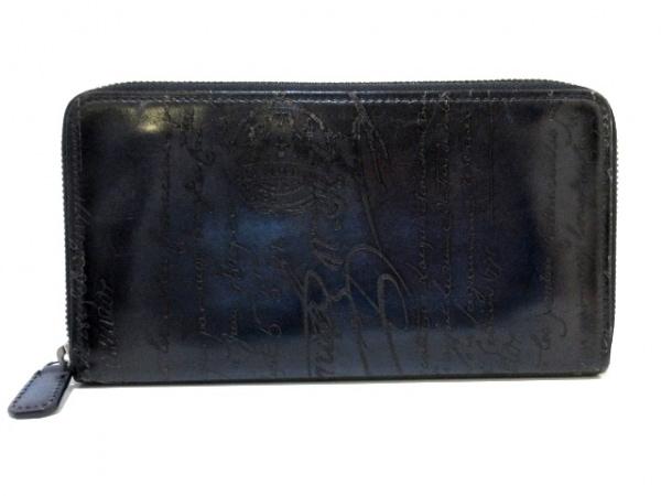 berluti(ベルルッティ) 長財布 カリグラフィ ネイビー×黒 ラウンドファスナー レザー