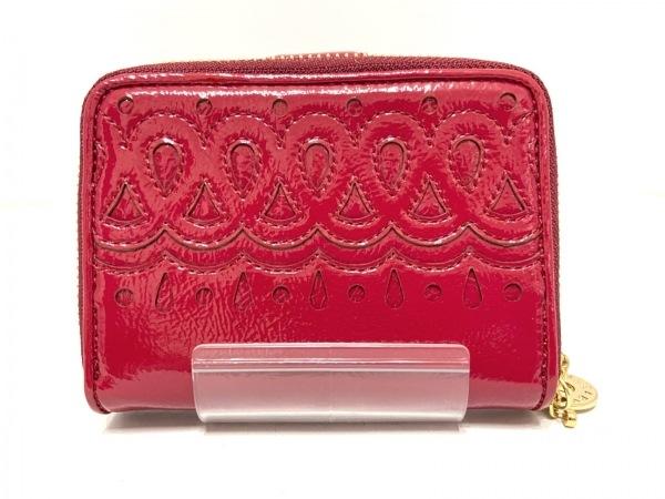SAZABY(サザビー) 2つ折り財布 レッド ラウンドファスナー エナメル(レザー)