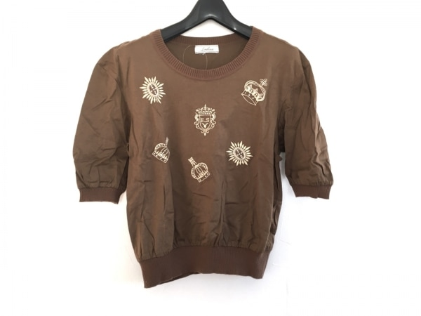 Leilian(レリアン) 半袖Tシャツ サイズ9 M レディース美品  ブラウン×ゴールド