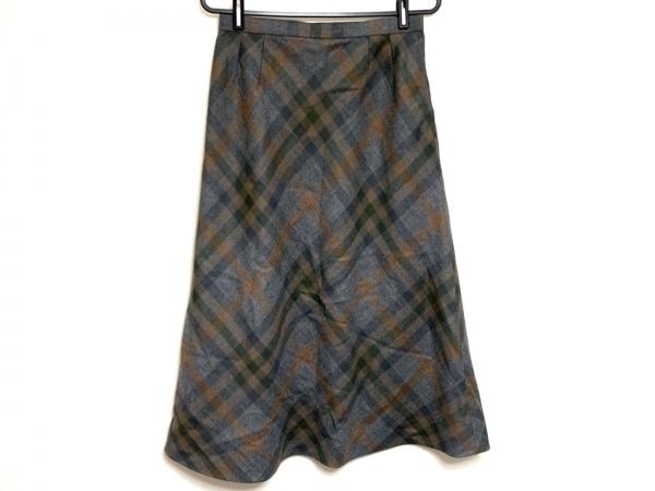 レリアン ロングスカート サイズ11 M レディース グレー×ブラウン×ダークグレー