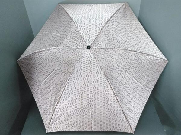CELINE(セリーヌ) 折りたたみ傘美品  Cマカダム柄 ピンク×ダークブラウン 化学繊維