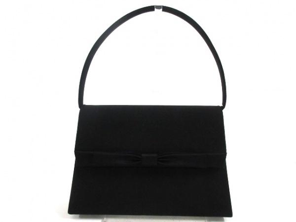PETITSOIR(プチソワール) ハンドバッグ美品  黒 リボン 化学繊維