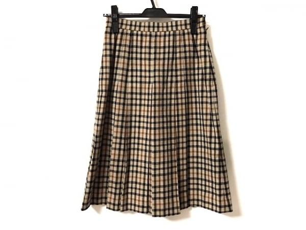 DAKS(ダックス) スカート レディース ベージュ×黒×ブラウン プリーツ