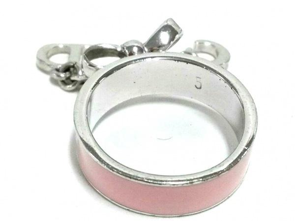 クリスチャンディオール リング美品  金属素材 シルバー×ピンク サイズ:5/リボン