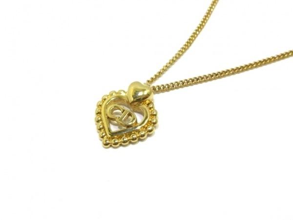 ChristianDior(クリスチャンディオール) ネックレス美品  金属素材 ゴールド ハート