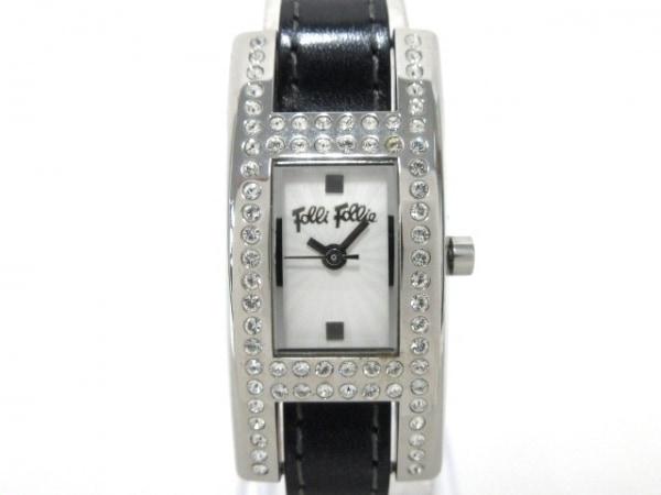 FolliFollie(フォリフォリ) 腕時計 レディース ラインストーン/革ベルト 白