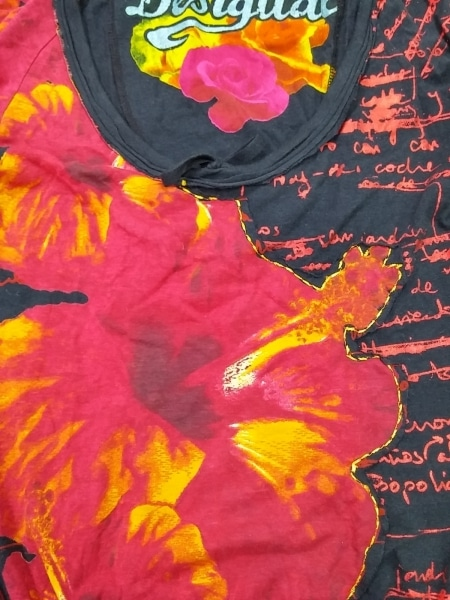 Desigual(デシグアル) 長袖Tシャツ サイズM レディース レッド×黒×ベージュ