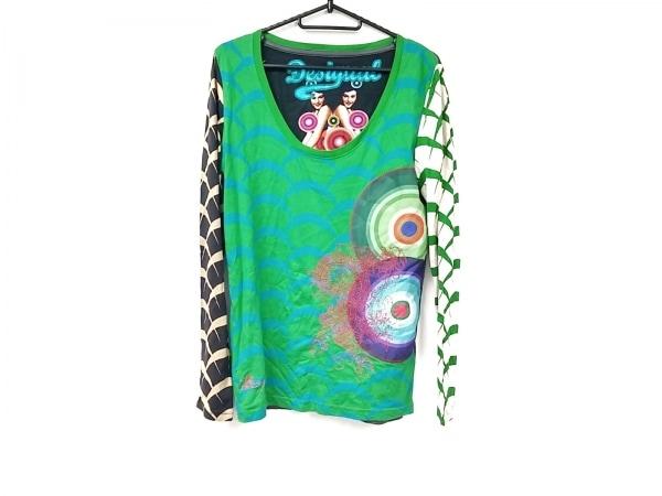 デシグアル 長袖Tシャツ サイズL レディース美品  グリーン×ライトグリーン×マルチ