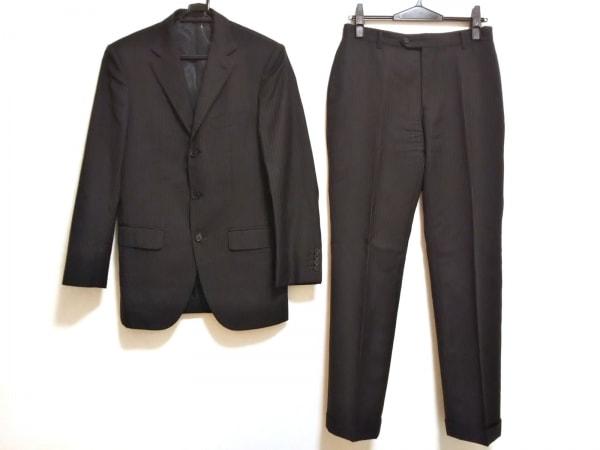 エディフィス シングルスーツ サイズ44 L メンズ 黒×白 ストライプ/スリーピース