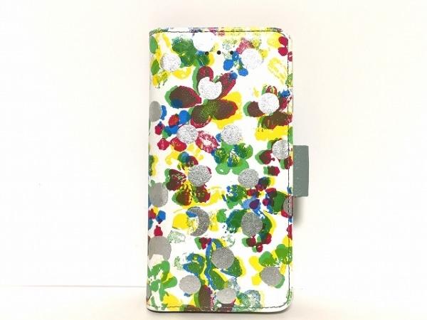 ツモリチサトキャリー 携帯電話ケース 白×シルバー×マルチ ドット柄/花柄/iPhone7