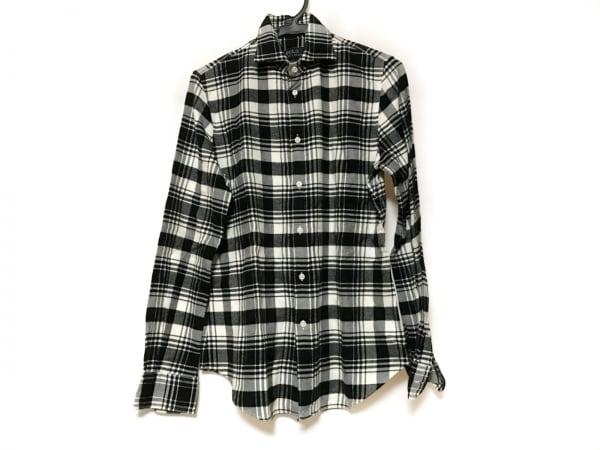 ポロラルフローレン 長袖シャツ サイズM メンズ 黒×白 チェック柄
