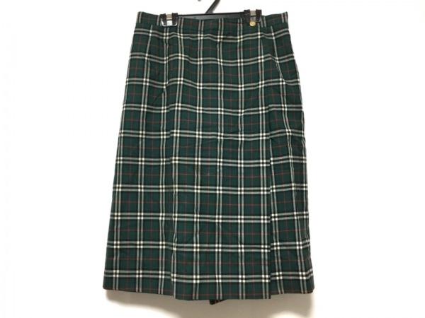 バーバリーズ スカート サイズ15 L レディース ダークグリーン×黒×レッド