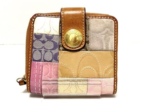 コーチ 2つ折り財布 F41209 ベージュ×ピンク×マルチ ジャガード×レザー×スエード