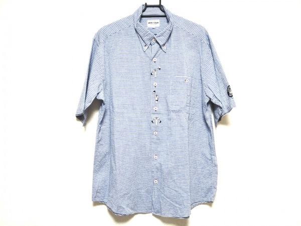 シナコバ 半袖シャツ サイズL メンズ美品  ライトブルー ボーダー/刺繍/LUPO DI MARE
