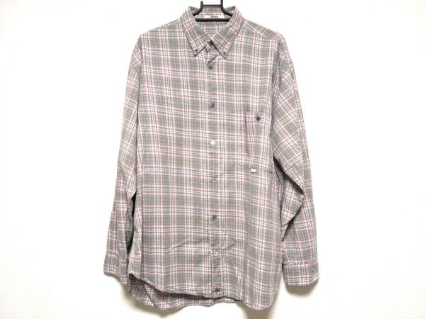 Papas(パパス) 長袖シャツ サイズL メンズ ダークグリーン×ピンク チェック柄