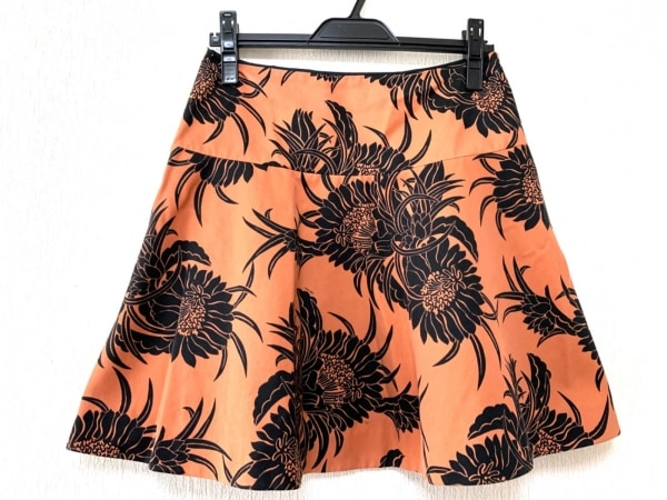 PRADA(プラダ) スカート サイズ42S レディース ブラウン×黒 花柄