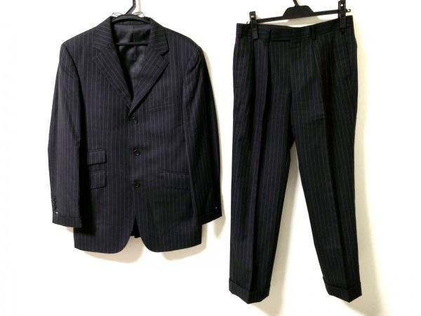 バーバリーブラックレーベル シングルスーツ メンズ 黒×白 ストライプ