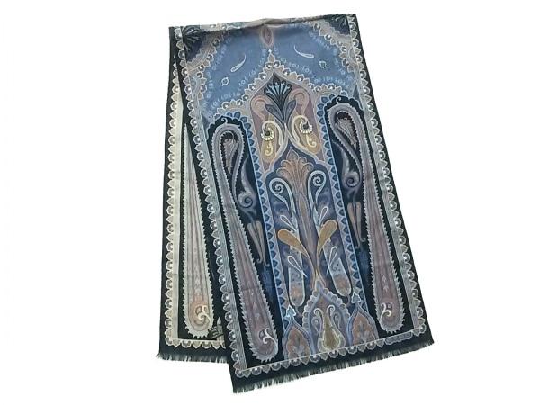ETRO(エトロ) スカーフ美品  黒×ブルー×マルチ ペイズリー柄