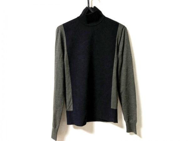 CELINE(セリーヌ) 長袖セーター サイズM レディース 黒×ダークグリーン ハイネック
