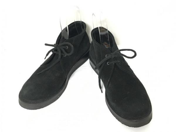 ジョルジオアルマーニ ショートブーツ 41 2/1 メンズ 黒 チャッカブーツ スエード