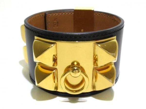 エルメス バングル美品  - レザー×金属素材 黒×ゴールド サイズ:S/ゴールド金具