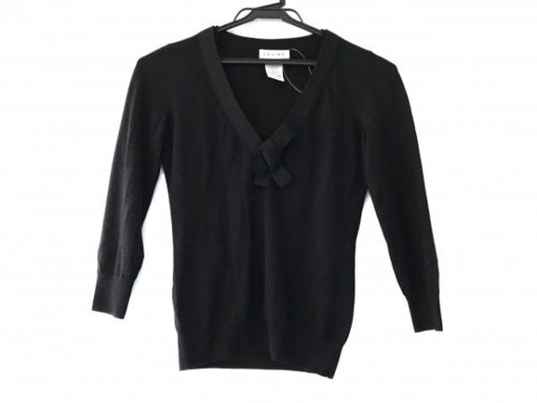 CELINE(セリーヌ) 長袖セーター サイズS レディース美品  黒 カシミヤ/シルク/リボン
