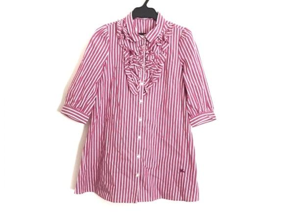 バーバリーブルーレーベル 七分袖シャツブラウス サイズ36 S レディース ピンク×白