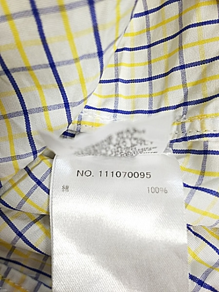 フランク&アイリーン 長袖シャツ サイズS メンズ美品  白×イエロー×ネイビー