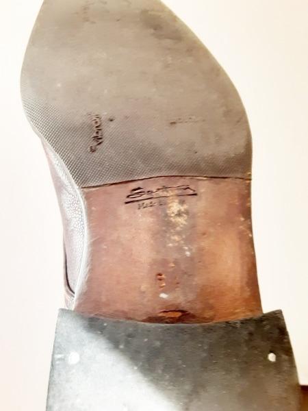 サントーニ ローファー 61/2 メンズ ダークブラウン アウトソール張替済 レザー