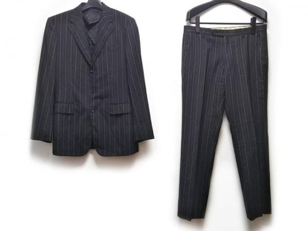 コムサデモードメン シングルスーツ メンズ 黒×ライトグレー ストライプ/薄手