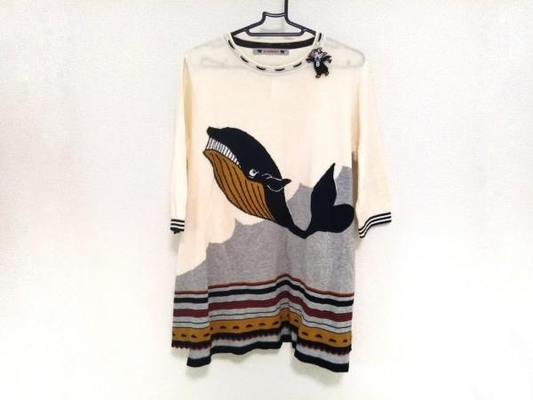 OLLEBOREBLA(アルベロベロ) ワンピース レディース美品  白×黒×マルチ クジラ/刺繍