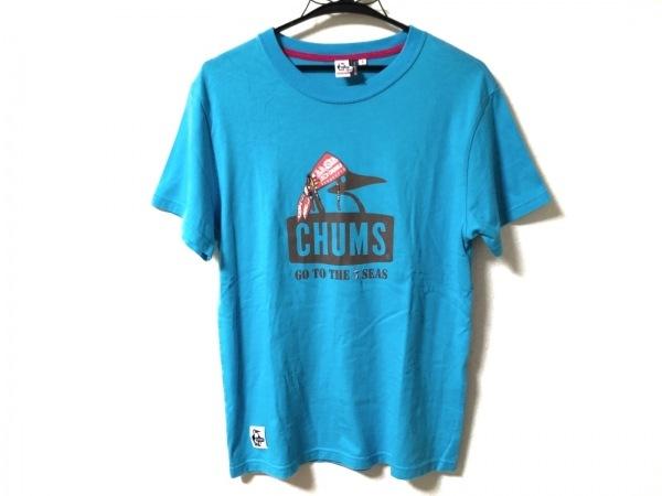 CHUMS(チャムス) 半袖Tシャツ サイズS レディース ライトブルー×マルチ ビーズ