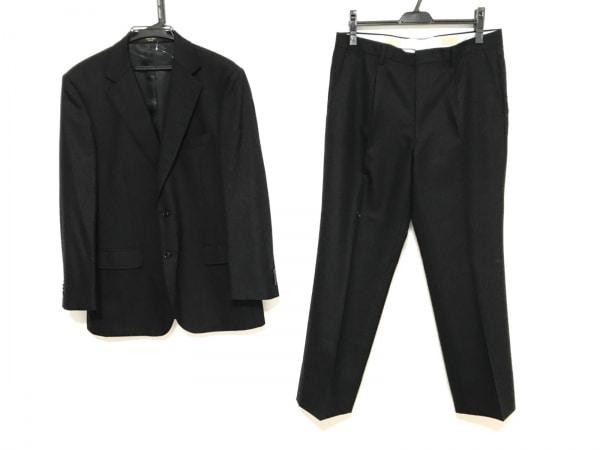 サヴィルロウ シングルスーツ サイズAB6 メンズ 黒 ストライプ/ネーム刺繍