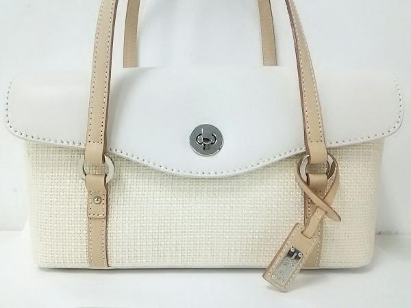 ギンザカネマツ ハンドバッグ美品  アイボリー×白×ライトブラウン 化学繊維×レザー