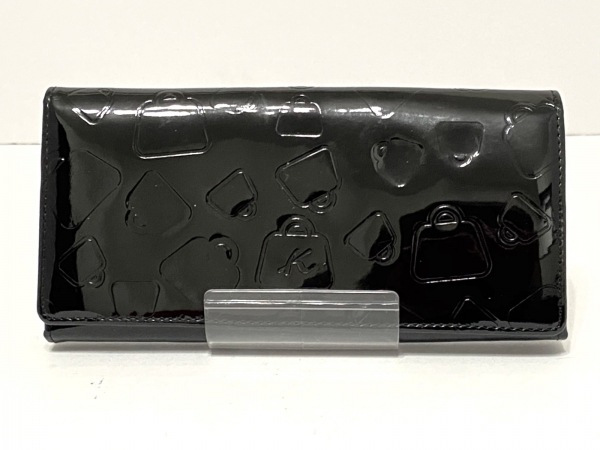 KITAMURA(キタムラ) 長財布 黒 型押し加工 エナメル(レザー)