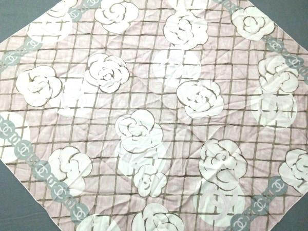 CHANEL(シャネル) スカーフ カメリア ピンク×アイボリー×マルチ