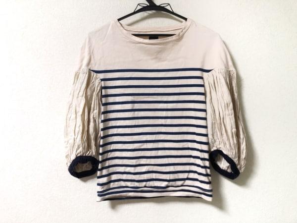 キャピタル 七分袖カットソー サイズXS レディース美品  ベージュ×ネイビー ボーダー