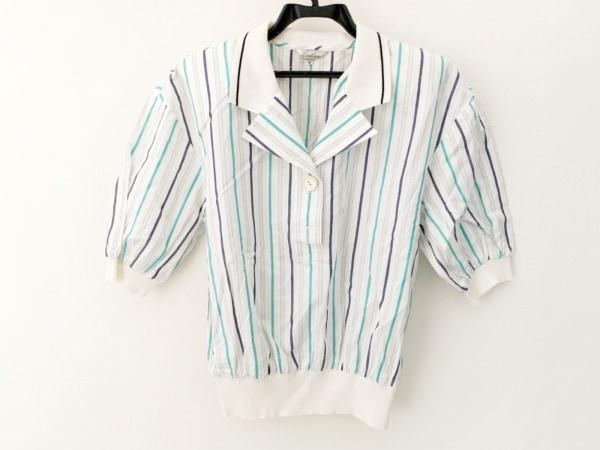 Leilian(レリアン) 半袖カットソー サイズ7 S レディース美品  白×グリーン×マルチ
