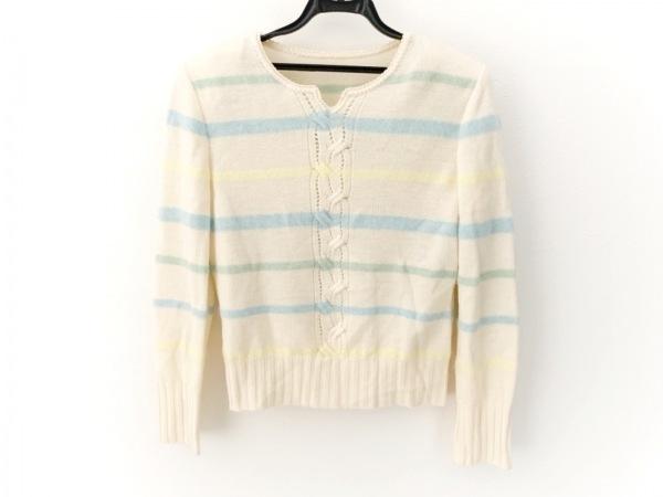 レリアン 長袖セーター サイズ9 M レディース美品  アイボリー×ライトブルー×マルチ