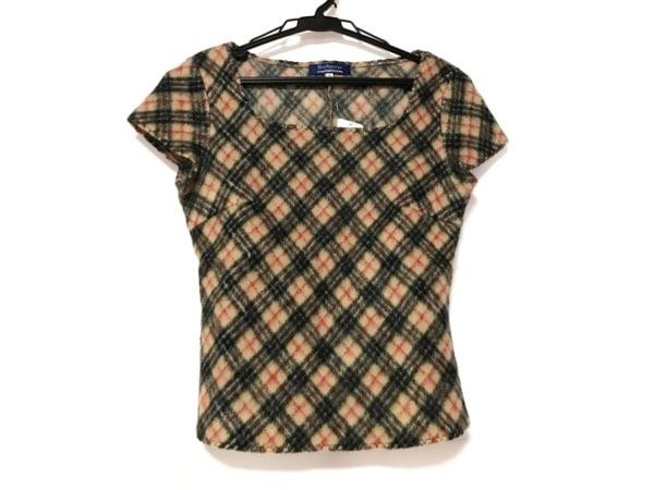 バーバリーブルーレーベル 半袖セーター サイズM レディース ベージュ×黒×レッド